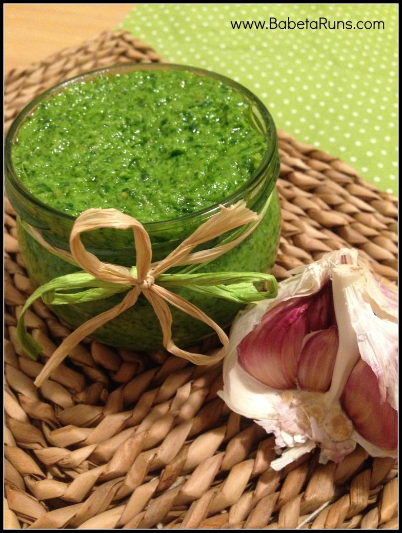 pesto and garlic